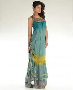 Ombre Teal Green Maxi Dress  by Kavita Bhartia