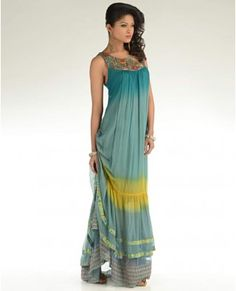 Ombre Teal Green Maxi Dress  by Kavita Bhartia