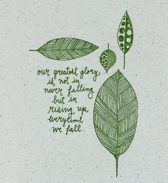 Our greatest glory is not in never falling, but in rising up every time we fall.