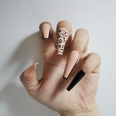 Black And Nude Nails, Pink Stiletto Nails, Beige Nails, Cheetah Nails, Black Acrylic Nails, Best Acrylic Nails, Coffin Nails, Cheetah Nail Designs, Airbrush Nails