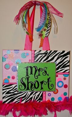 Personalized, Hand Painted Canvas Wall Art (11x14 zebra with multi dots example). $35.00, via Etsy.
