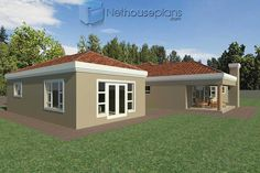A 4 Bedrooms Tuscan styled house plans you can call home. This 4 Bedrooms Tuscan styled house design is perfect for your medium size family. 6 Bedroom House Plans, Master Bedroom Plans, Garage House Plans, Double Storey House Plans, Tuscan House Plans, Built In Braai, Flat Plan, House Plans South Africa, Flat Roof House
