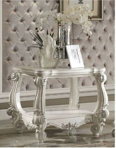 Versailles End Table in Bone White - Acme Furniture 82124