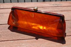 Vintage 1950's Clear AMBER see thru clutch bag by hipwithstyle, $29.00