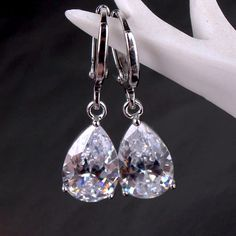 Raindrop Diamond Dust Infused Dangling Earrings in Diamond White or Blushing Pink