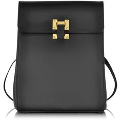 Sophie Hulme Black Leather Box Flap Rucksack ($1,208) ❤ liked on Polyvore featuring bags, backpacks, backpack, black leather knapsack, black bag, leather flap backpack, leather backpack and leather bags