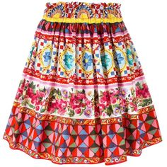 Dolce and Gabbana Mambo Print Pleated Skirt ($695) ❤ liked on Polyvore featuring skirts, kirna zabete, kzloves, pattern play, elastic waist skirt, high-waisted skirts, pattern pleated skirt, high waisted knee length skirt and print skirt