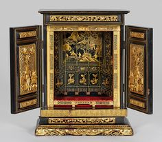 Antique chinese cabinet - finely carved gilt wood