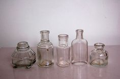 Small Clear Glass Bottles Vintage British Household by GoodNorth, $22.00