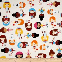 Kaufman Sport Kids Girl Park from @fabricdotcom  Designed by Ann Kelle for Kaufman Fabrics, this cotton print fabric is perfect for quilting, apparel and home décor accents. Colors include cream, white, red, brown, yellow, blue and orange.