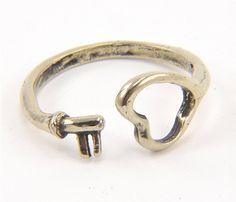 White Bronze Heart Ring