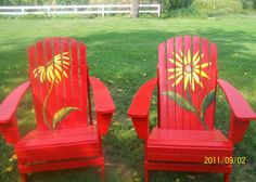 Unique Adirondack Chairs Hand Painted by artinthegarden on Etsy Painted Outdoor Furniture, Hand Painted Chairs, Adirondack Furniture, Lawn Furniture, Funky Furniture, Adirondack Chairs, Rustic Furniture, Office Furniture, Bedroom Furniture