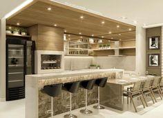 La imagen puede contener: mesa e interior Kitchen Bar Counter, Kitchen Island Table, Modern Kitchen Cabinets, Modern Kitchen Design, Interior Design Kitchen, Apartment Kitchen, Home Decor Kitchen, Home Kitchens, Kitchen Furniture