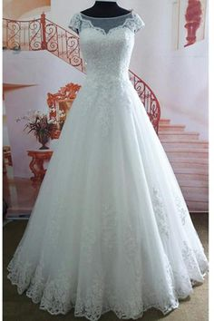 A Line Cap Sleeves White Lace High Quality Wedding Dresses Bridal Dress Wedding Gown LD672