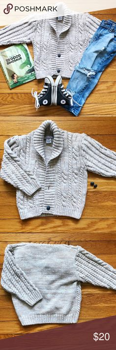 🌬 Cozy Cardigan Creamy tan cable knit cardigan with shawl collar by Kitestrings for Hartstrings. Perfect for the tiny grandpa look! 👴🏻  • Sweater is in excellent gently worn condition, however 2 of the 3 front button closures fell off. I have the buttons but am not a seamstress, so these need to be reattached (or cardigan can just be worn open!) • Bundle 3 or more items and receive 20% off! Hartstrings Shirts & Tops Sweaters
