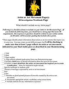 Artist Page Guideline for IWB Art Critique, Art Handouts, Art Rubric, Jobs In Art, 6th Grade Art, Jr Art, Ap Studio Art, Art Worksheets, High School Art