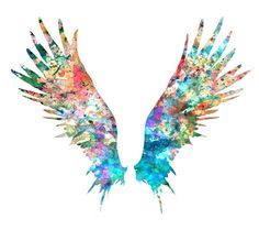Angel Wings Art Print Colorful Watercolor Painting por Thenobleowl