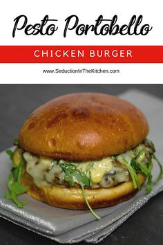 DO you want an alternative to a beef burger? How about this Pesto Portabello Chicken Burger! It is pesto and chopped portabello mushrooms mixed with ground chicken for this savory burger. Then this chicken burger is topped with melted Asiago cheese, for a melt in your mouth type of burger you will fall in love with recipe. | SeductionInTheKitchen.com #burger #chicken #portobello #pesto via @SeductionRecipe