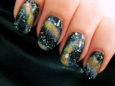 Easy Galaxy Nail Art - YouTube