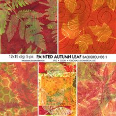 PAINTED Autumn Leaves  5 Digital 12x12 Collaged by TheDigitalStash - made with Gelli Plate https://www.etsy.com/listing/201933908/painted-autumn-leaves-5-digital-12x12