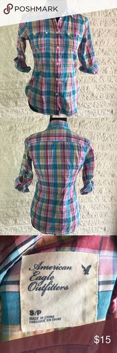 AEO plaid button down Great condition, 3/4 sleeve American Eagle Outfitters Tops Button Down Shirts