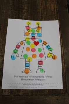 "Sample craft for Day 'My Robot Friend"" Preschool Arts And Crafts, Bible School Crafts, Vbs Crafts, Gadgets And Gizmos Vbs, 2017 Gadgets, Maker Fun Factory Vbs, Sunday School Projects, Robot Theme, Vbs Themes"
