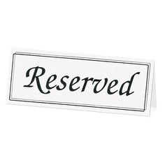 White Table Reserve Cards Pack of 5