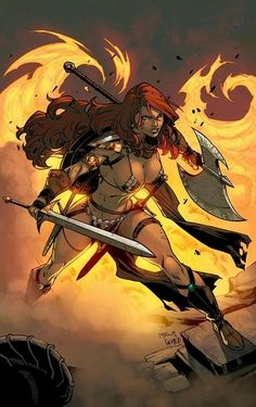 """""""Red Sonja color"""" by logicfun color Red Sonja, Barbarian Woman, Conan The Barbarian, Game Character Design, Comic Character, Dragon's Dogma, Fantasy Female Warrior, Black And White Comics, Comic Art Girls"""