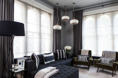 This Contemporary Living Room Has Stylish Unlined Linen Shades Combined With Lined Drapes