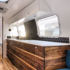 Custom interior of a Vintage Airstream Trailer. Built and Designed by Townsend Travel Trailers.