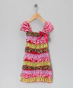 Pink & Green Leopard Ruffle Dress - Infant & Toddler