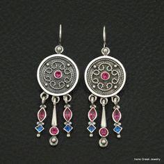 RUBY SAPPHIRE CZ BYZANTINE STYLE 925 STERLING SILVER GREEK HANDMADE ART EARRINGS #IreneGreekJewelry #Chandelier