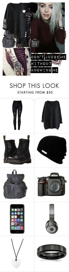 """""""Don't Judge Me Without Knowing Me"""" by infinite-exo-girl ❤ liked on Polyvore featuring WithChic, Dr. Martens, Neff, Nikon, Off-White, Beats by Dr. Dre and Asha by ADM"""