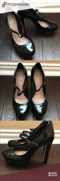 """Mary Jane Stiletto Black Patent Vince Camuto Heels Stiletto Black Patent Vince Camuto Emmy Heels Maryjane platform heels wear sign of wear, scuffs Approximate heel height is 5"""" with a 1"""" platform Vince Camuto Shoes Platforms"""