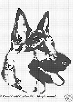 Crochet Patterns - German Shepherd Graph Pattern C Cross Stitch Charts, Cross Stitch Patterns, Cross Stitching, Cross Stitch Embroidery, Crochet Chart, Crochet Patterns, Tunisian Crochet Stitches, Fillet Crochet, Manta Crochet