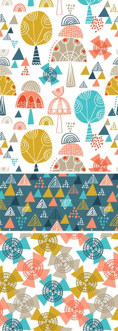 Totem Trees by Wendy Kendall Motifs Textiles, Textile Prints, Textile Patterns, Kids Patterns, Pretty Patterns, Color Patterns, Cute Pattern, Pattern Art, Surface Design
