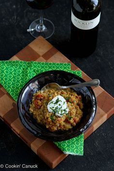 Curry Red Lentil Stew: A healthy vegetarian stew, rich with curry spices and perfect for #MeatlessMonday, that cooks up in less than 30 minutes. | cookincanuck.com