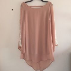 LUSH Nude peach lace sleeve dress Open back, Bell shaped sleeves with lace detail.Sz M Lush Dresses