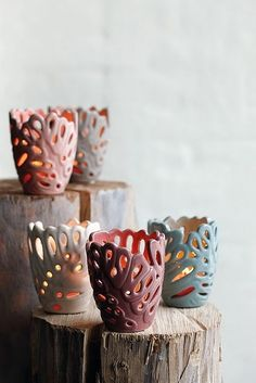 Ceramic cut out candleholders - House Decorators Collection Slab Pottery, Ceramic Pottery, Ceramic Lamps, Pottery Painting Designs, Paint Designs, Clay Pinch Pots, Candlesticks, Candleholders, Coil Pots