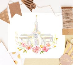 LDS Temple Watercolor Mt. Timpanogos by SweetnSandy on Etsy