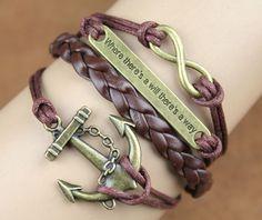 Antique copper Bracelet--Infinity, Faith & Anchor Bracelet--Wax Cords and Imitation Leather Bracelet-- Friendship Gift-Personalized Bacelet