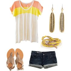 Good reminder that a simple t-shirt and denim can be dressed up with some simple jewelry and cute shoes!