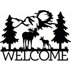 Silhouette Design Store - View Design #78736: welcome moose scene