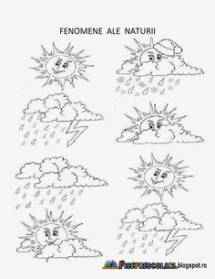 Fenomene Ale Naturii - Imagini de colorat pentru copii | Fise de lucru - gradinita Earth Day, After School, Coloring Pages, Crafts For Kids, Kindergarten, Childhood, Seasons, Learning, Autumn