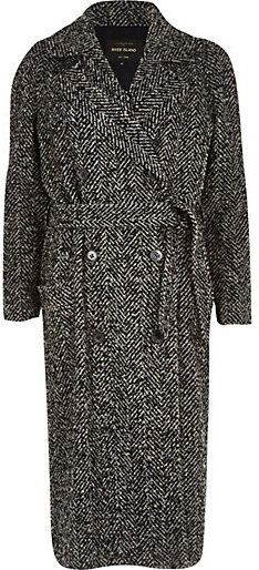 $100, Grey Herringbone Coat: River Island Grey Herringbone Tweed Long Coat. Sold by River Island. Click for more info: https://lookastic.com/women/shop_items/141783/redirect