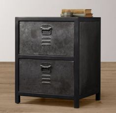 RH Baby & Child's Vintage Locker Nightstand:As sturdy as the all-American originals that inspired it, the Vintage Locker collection has authentic details like vented drawer fronts and an antiqued finish for a timeworn feel. Vintage Lockers, Metal Lockers, Guy Dorm Rooms, Kids Rooms, Vintage Industrial Furniture, Industrial Design, Industrial Bedroom, Industrial Pipe, Industrial Style