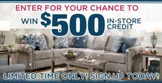 Enter for a chance to WIN a $500 in-store credit at Express Furniture Warehouse! $500 #expressfurniture warehouse #credit #furniture #home #giveaways #sweepstakes #contests
