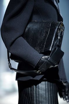 Lanvin Fall 2012 Accessories, #women's apparel, #accessories, #Lanvin...is that a textured leather skirt?  Wow fabulous black on black look !
