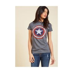 Nifty Nerd Mid-length Short Sleeves Make It Captain T-Shirt ($21) ❤ liked on Polyvore featuring tops, t-shirts, apparel, graphic tee and grey