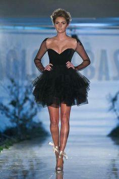 Paolo Sebastian short black long sleeve tulle ballet inspired mini dress ... black swan